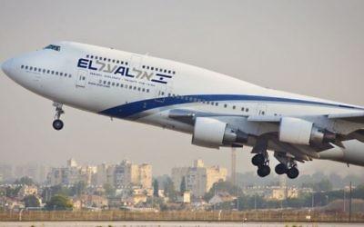 Un avion de la compagnie El Al. Illustration. (Crédit : Moshe Shai/Flash90)