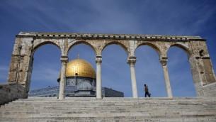 La mosquée d'Al-Aqsa sur le mont du Temple à Jérusalem (Crédit : AFP)