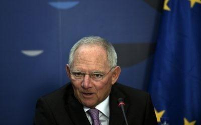 Le ministre des Finances allemand Wolfgang Schäuble (Crédit : Louisa Gouliamaki/AFP)