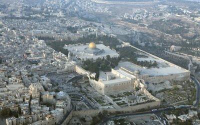 Vue aérienne sur le mont du Temple (Crédit : Yossi Zamir/Flash 90)