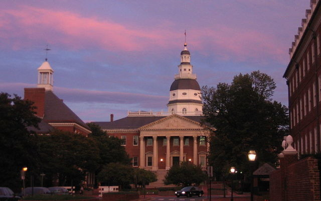 La chambre des représentants du Maryland à Annapolis (Crédit : CC BY Thisisbossi/Wikimedia Commons)