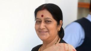 Sushma Swaraj, ministre des Affaires étrangères indienne (Crédit : AFP PHOTO/RAVEENDRAN)