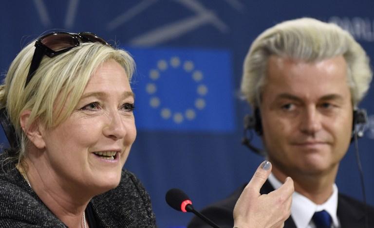 -Marine Le Pen et Geert Wilders (Crédit : AFP)