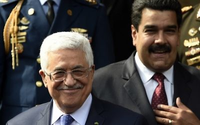 Mahmoud Abbas et Nicolas Maduro (Crédit : AFP)
