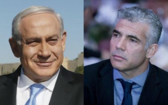 Benjamin Netanyahu et Yair Lapid (droite) (Crédit : montage Miraim Alster/Moshe Shai/Flash 90)