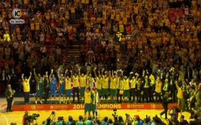 L'équipe du Maccabi Tel Aviv, en mai 2014. Illustration. (Crédit : capture d'écran Dixième chaîne)