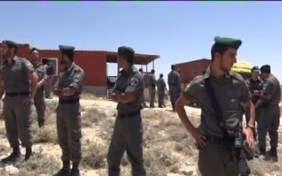 La police des frontières à Maale Rehavam - 14 mai 2014 (Crédit : Israel national news)