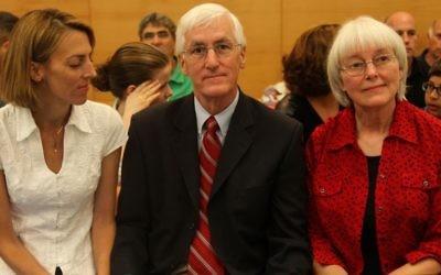 Les parents de Rachel Corrie et leur fille Sarah - 28 août 2012 (Crédit : Avishag Shaar Yashuv/Flash 90)