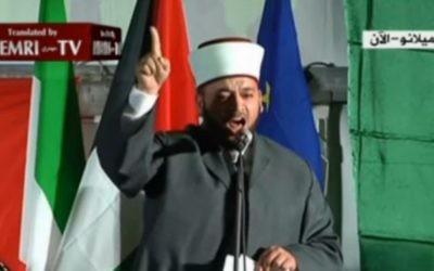 L'imam de la mosquée d'Al-Aqsa, Raed al-Danna à une conférence à Milan - 27 avril 2014 (Crédit : MEMRI/al-Jazeera)