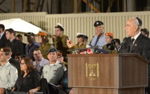 Shimon Peres à Yom Hazikaron (Crédit /Autorisation de la résidence présidentielle)