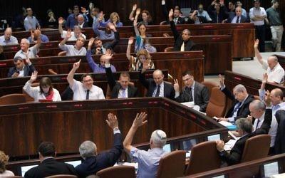 Un vote à la Knesset (Crédit : Miriam Alster/Flash 90)