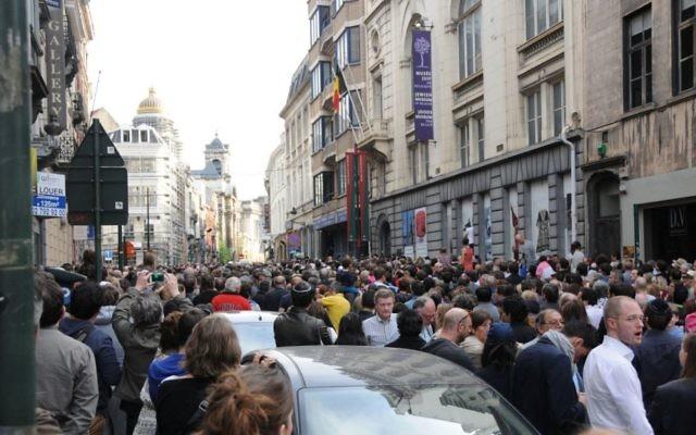 Une manifestation de soutien à Bruxelles après l'attentat contre le Musée juif de la ville qui a fait 4 morts le 24 mai (Crédit : Surya Jonckheere)