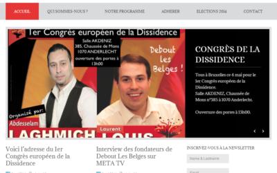 """Capture d'écran de la page d'accueil du site """"Debout les Belges"""" de Laurent Louis"""