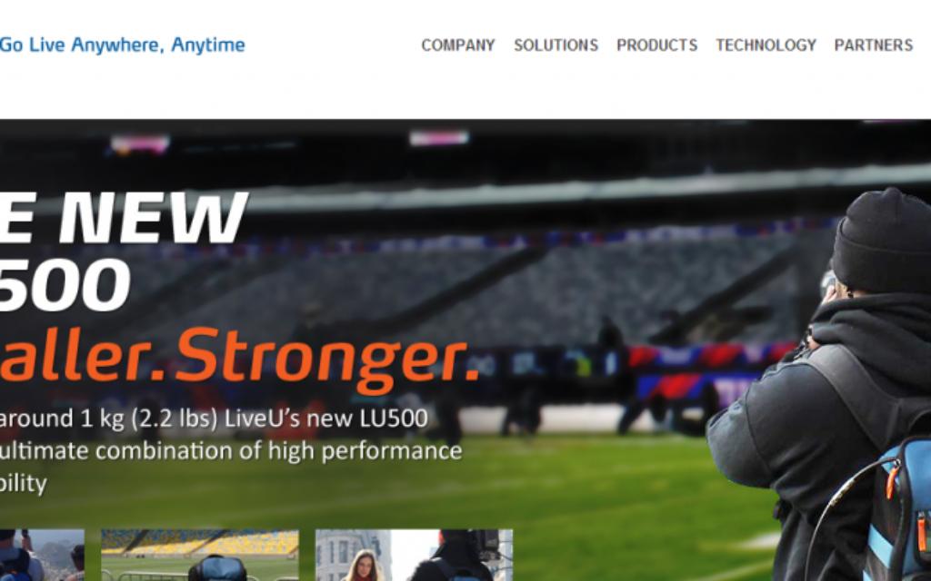 Capture d'écran du site internet LiveU