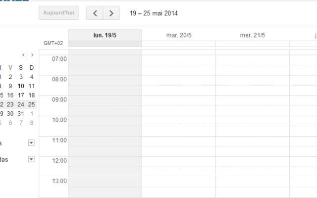 Capture d'écran Google Calendar