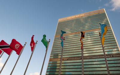 Façade des Nations unies à New York (Crédit : via Shutterstock)