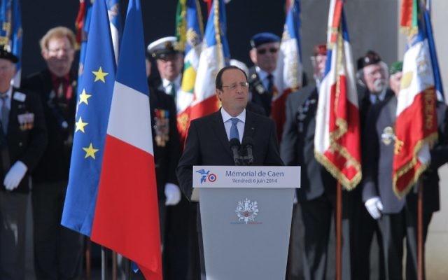 François Hollande à la cérémonie de commémoration du Débarquement en Normandie (Crédit : AFP PHOTO / CHARLY TRIBALLEAU)