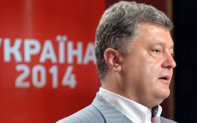 Le président ukrainien Petro Porochenko (Crédit : Sergei Supinsky/AFP)