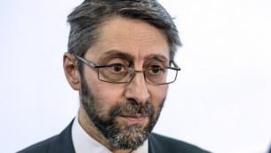 Le Grand Rabbin de France Haïm Korsia (Crédit : Fred Dufour/AFP)