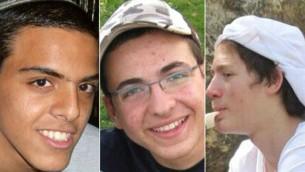 Les trois adolescents disparus près de Hébron le 12 juin 2014 : de gauche à droite : Eyal Yifrach, Gil-ad Shaar et Naftali Frenkel (Crédit : autorisation)