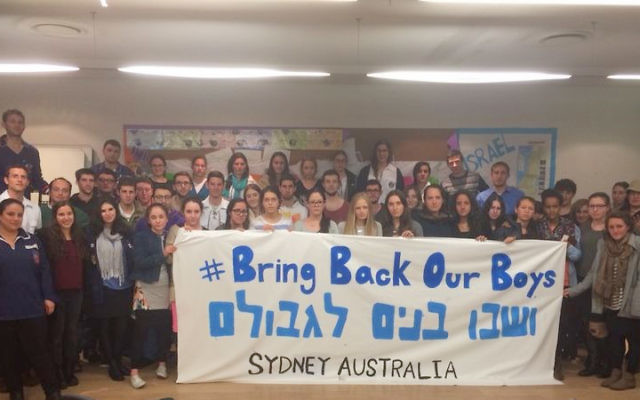 Evènement Bring Back Our Boys de Sydney, Australie (Crédit : autorisation)