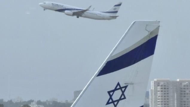 Un avion à l'aéroport Ben Gurion (Crédit : Serge Attal/Flash90/File)
