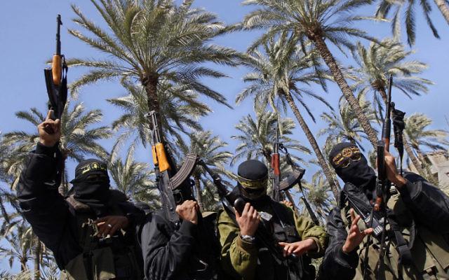 Des agents du Jihad islamique (Crédit : Abed Rahim Khatib/Flash90)