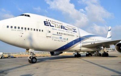 Un Boeing 747 d'El Al (Crédit : Yossi Zeliger/Flash90)