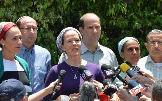 Les parents des trois garçons enlevés  Gil-ad Shaar, Eyal Yifrach et Naftali Fraenkel (Crédit : Flash 90)