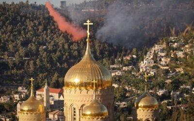Vue sur l'église russe à Jérusalem (Crédit : FLASH90)