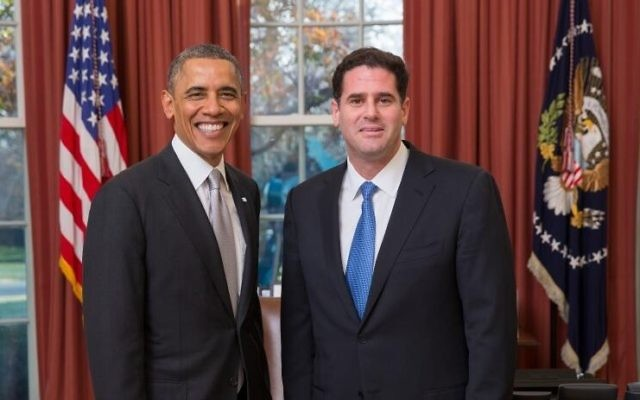 Ron Dermer (droite) et Barack Obama (Crédit : Twitter/ Amb. Ron Dermer)