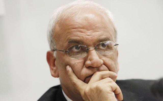 Saeb Erekat, secrétaire général de l'Organisation de la libération de la Palestine (OLP). (Crédit : Miriam Alster/Flash90)