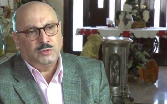Manuel Hassassian, le représentant de l'AP au Royaume-Uni (Crédit : capture d'écran YouTube)