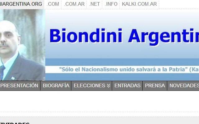 Capture d'écran du site Internet de Alejandro Biondini