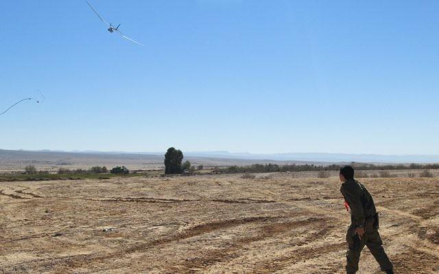 Un drone Skylark. Illustration. (Crédit : caporal Zev Marmorstein/unité des porte-paroles de l'armée israélienne)