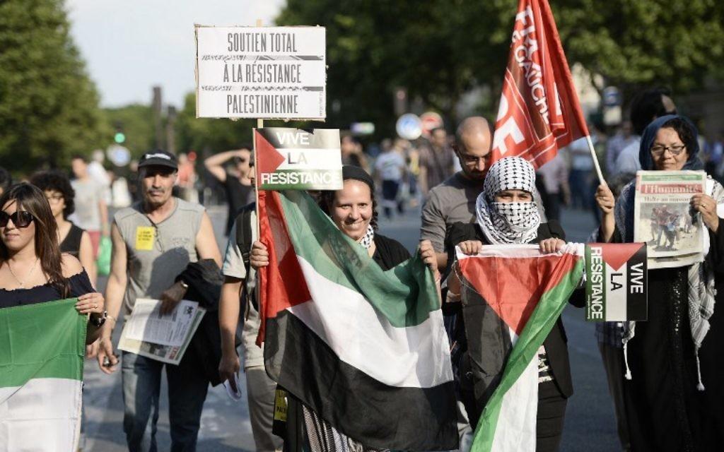 Manifestation aniti-israélienne - 23 juillet 2014 - (Crédit : AFP)