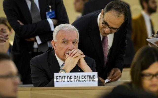 """Le représentant de """"l'Etat de Palestine"""" au Conseil des droits de l'Homme de l'ONU (Crédit : AFP / FABRICE COFFRINI)"""