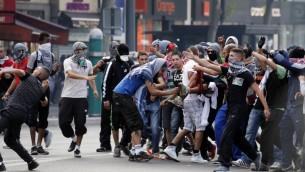 Rassemblement à Paris alors que les autorités françaises l'avait interdit - 26 juillet 2014 (Crédit : AFP)