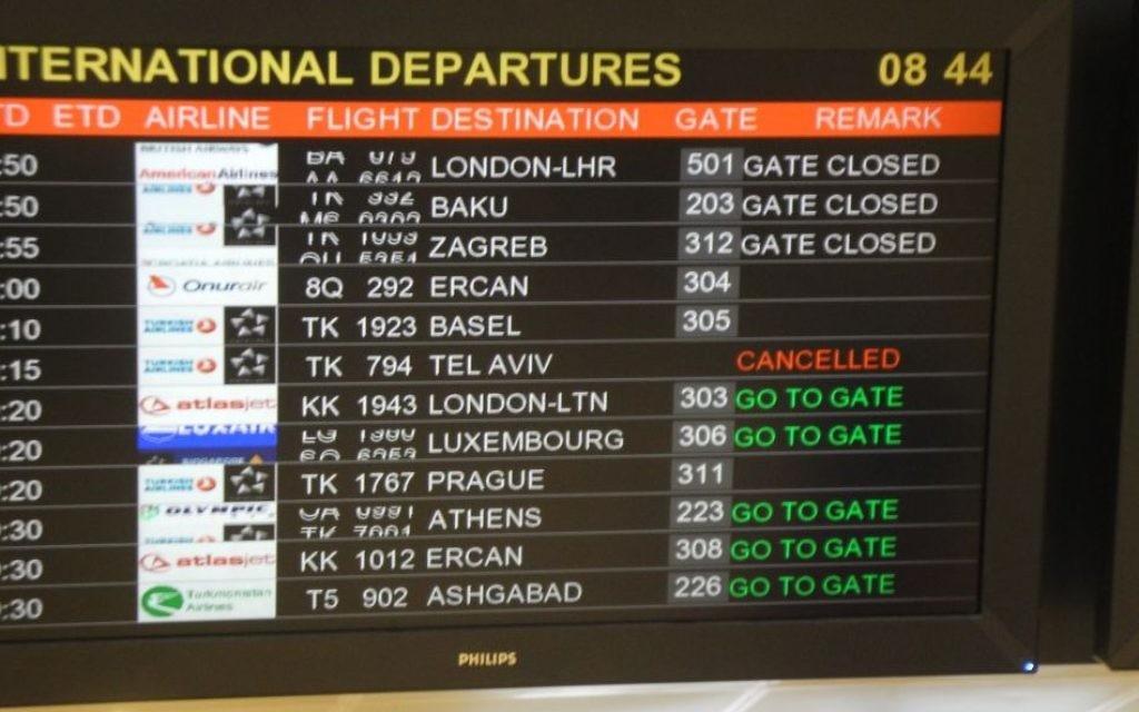Panneau d'affichage à l'aéroport en Turquie