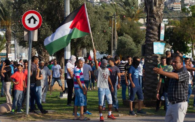 Des manifestants palestiniens à Arara (Crédit : Omar Samir/FLASH90)
