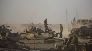 Un char de l'armée israélienne (Crédit : Yonatan Sindel/Flash90)