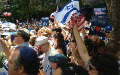 Rassemblement pro-israélien à New York - 28 juillet 2014 (Crédit : Jeff Rafalaf)