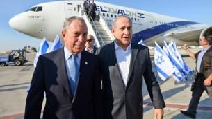 Michael Bloomberg (g) et Benjaimn Netanyahu - 23 juillet 2014 (Crédit : Haim Zach/GPO/Flash 90)