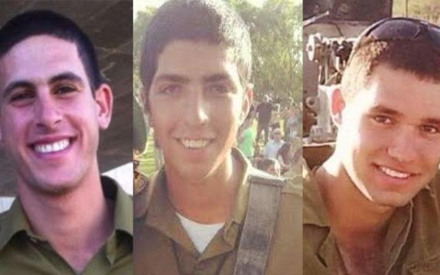 Les 3 soldats israéliens tués le 26 juillet 2014 (de gauche à droite : Roy Peles, Avraham Grintzvaig, Gal Bason). (Crédit : Autorisation IDF)