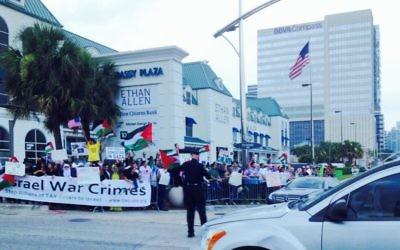 Rassemblement anti-israélien à Houston, Texas (Crédit : Miriam A. Shaviv/The TImes of Israel)