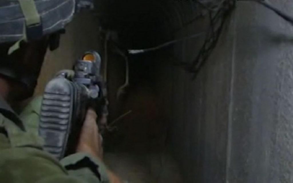Un tunnel de Gaza, dans la banlieue de Khan Younès (Crédit : Walla news)