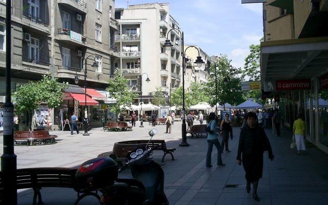une rue à Skopje (Crédit : Svilen Enev/Wiki)