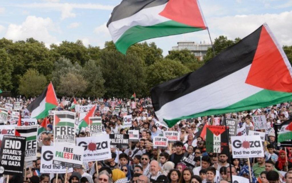 Manifestation à Londres contre l'opération Bordure protectrice - 9 août 2014 (Crédit : Leon Neal/AFP)