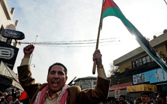 Chili : manifestation pro-palestinienne pour exiger la rupture des relations avec Israël (Crédit :  AFP/ MARTIN BERNETTI)