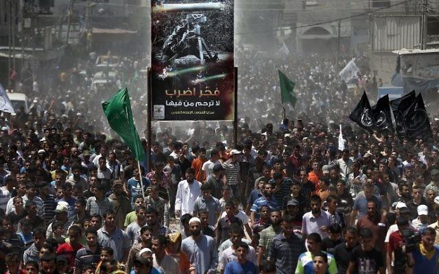 Funérailles des 3 chefs du Hamas tués lors par une frappe de Tsahal - 21 août 2014 (Crédit : AFP)